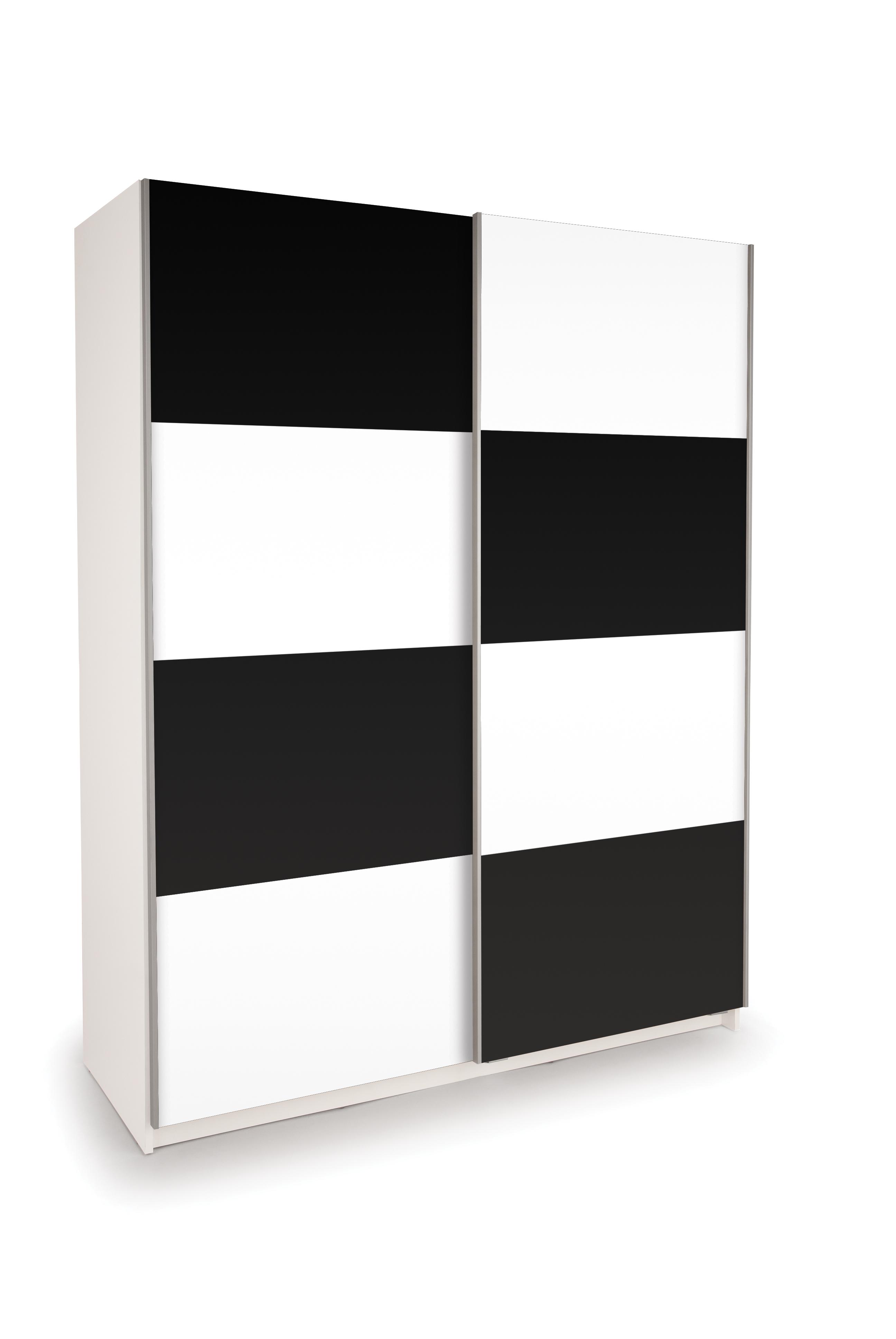 Dallas White Sliding Door Wardrobe High Gloss Black High Gloss White