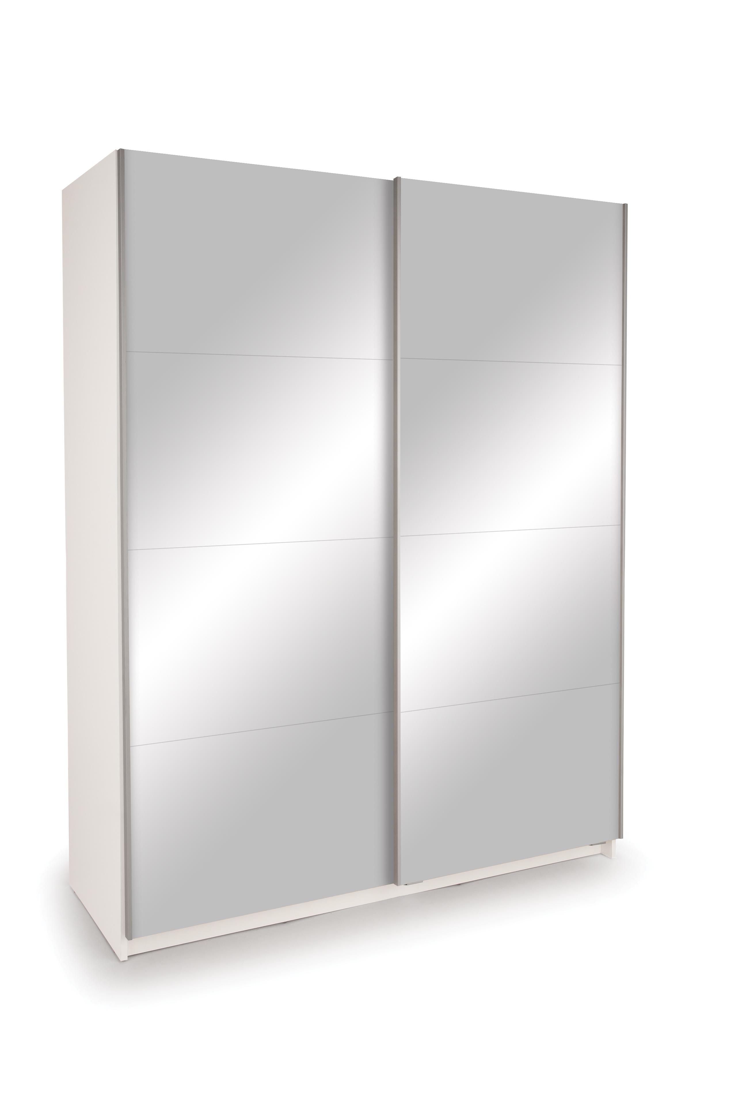Dallas White Sliding Door Wardrobe- Double Mirror