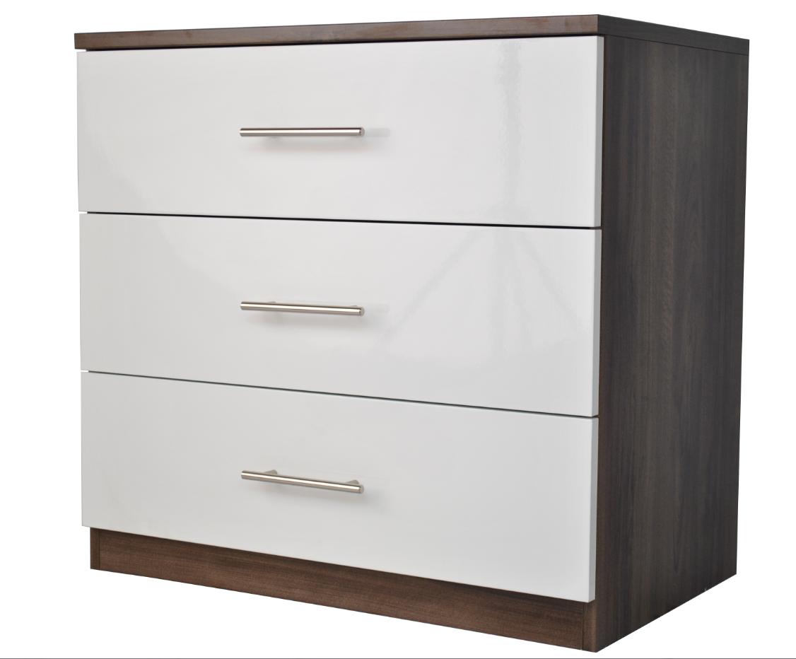 Darwin walnut high gloss cream 3 drawer chest wide for Kitchen cabinets 50cm wide