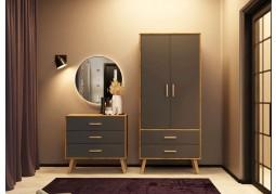 Austin 2 Door 2 Drawer Grey & Oak Wardrobe